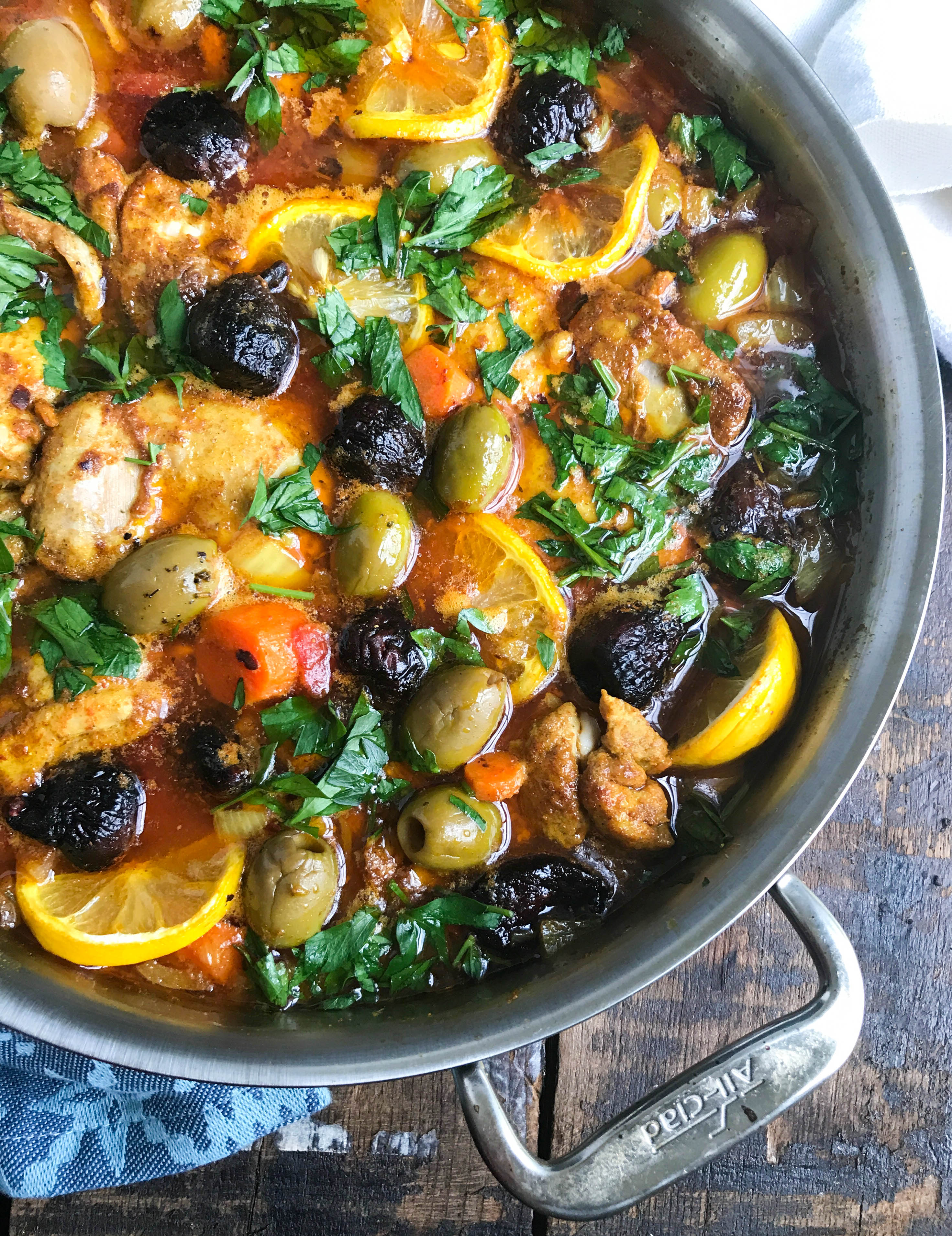 Moroccan Chicken Thighs in Silver Pan