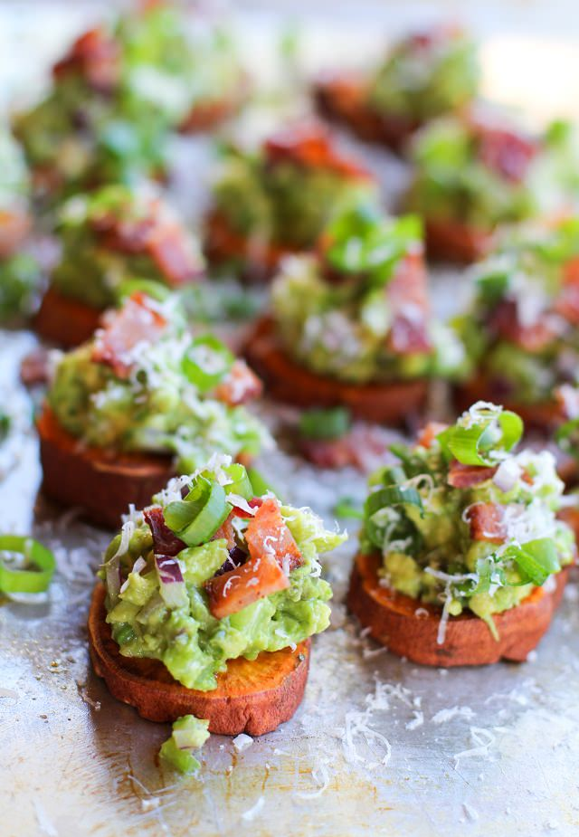 Roasted Sweet Potato Rounds with Guacamole and Bacon // The Roasted ...