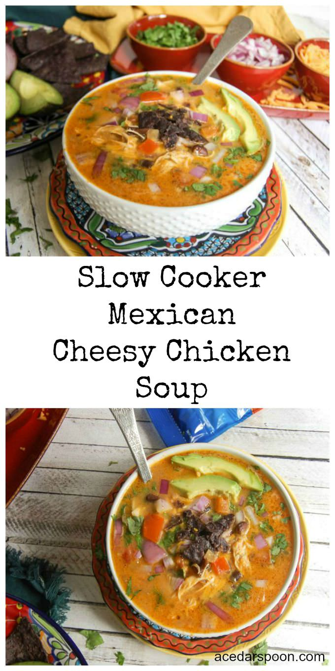 Slow Cooker Mexican Cheesy Chicken Soup - so warm!