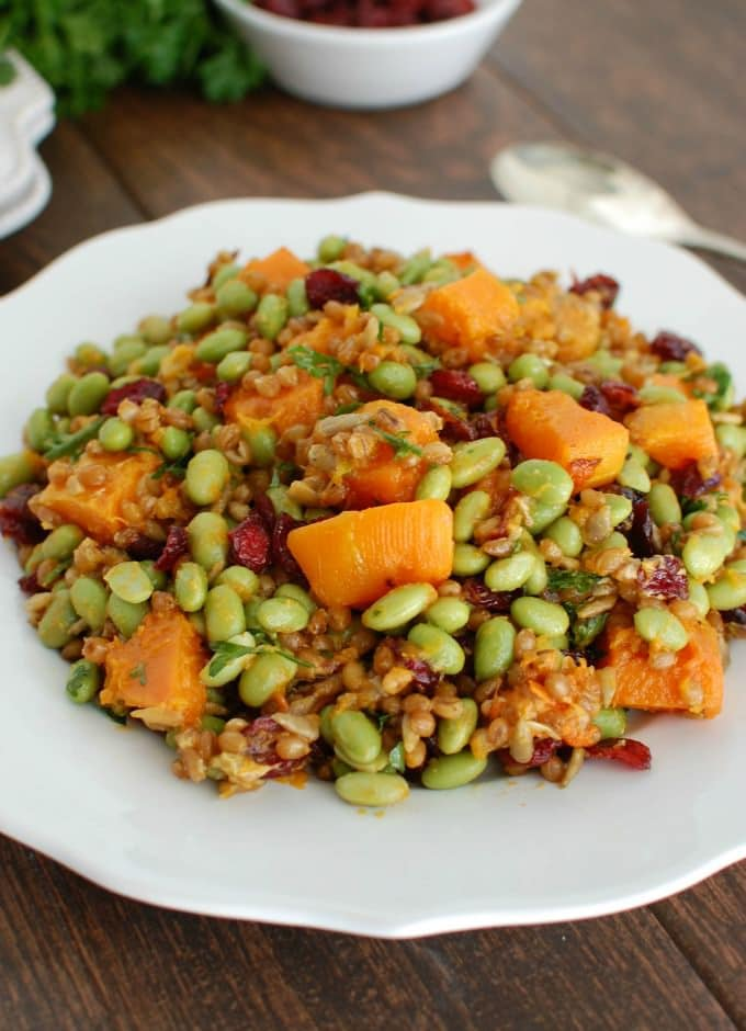 Wheat Berries with Butternut Squash, Edamame and Cranberries - so good
