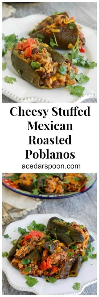 Cheesy Mexican Stuffed Roasted Poblanos