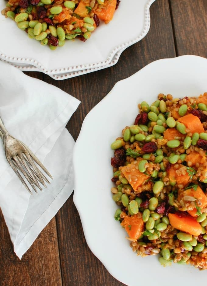 Wheat Berries with Butternut Squash, Edamame and Cranberries - lunch