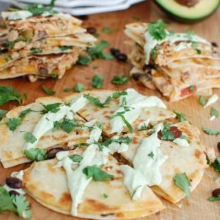 Mexican Salmon Quesadillas with Avocado Cream Sauce