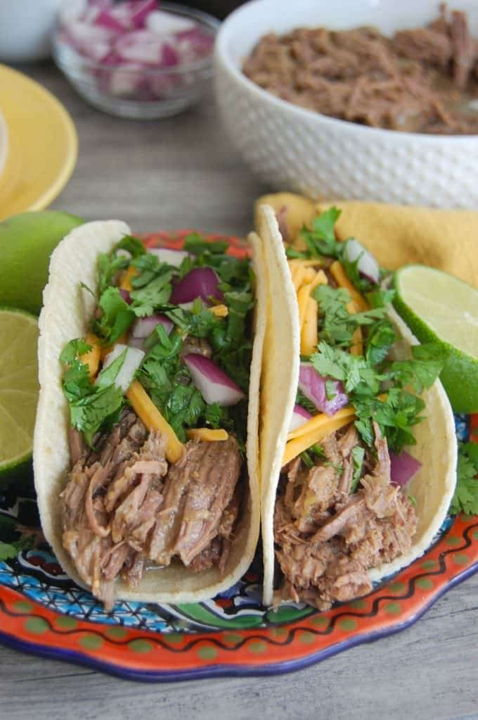 Slow Cooker 4 Ingredient Shredded Beef Tacos + Giveaway - A Cedar ...