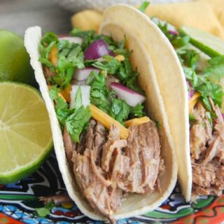 Slow Cooker 4 Ingredient Shredded Beef Tacos + Giveaway