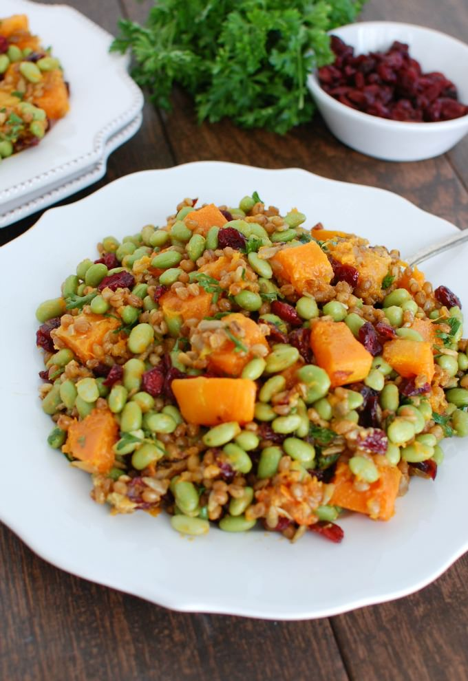 Wheat Berries with Butternut Squash, Edamame and Cranberries - delicious