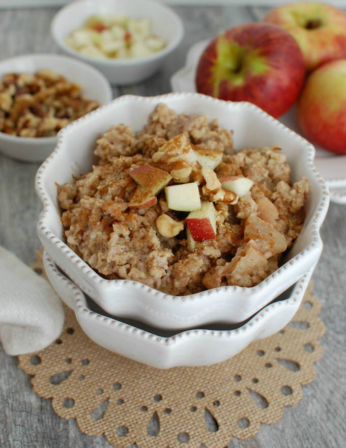 Slow Cooker Apple Pie Steel Cut Oatmeal - A Cedar Spoon