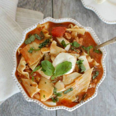Slow Cooker Turkey Kale Lasagna Soup