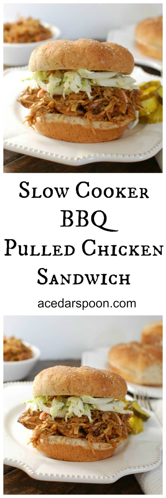 Slow Cooker BBQ Pulled Chicken Sandwich - slow cooker goodness