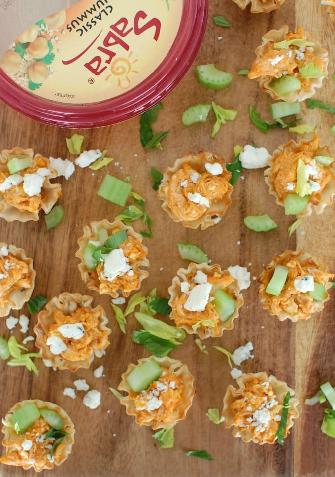 Buffalo Chicken Hummus Bites