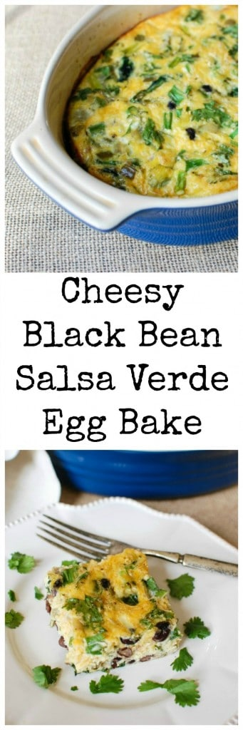 Cheesy Black Bean Salsa Verde Egg Bake