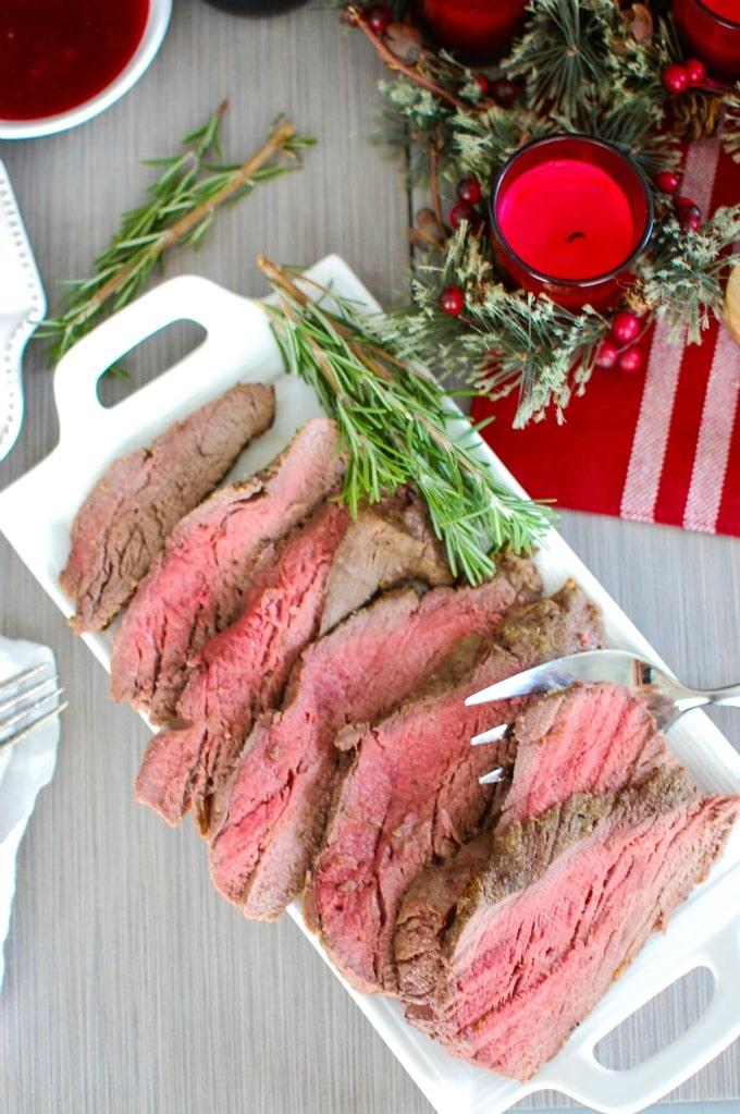 Beef Tenderloin with Cranberry Orange Relish - dinner!