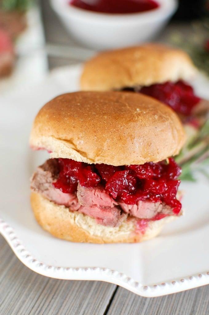 Beef Tenderloin Sliders with Cranberry Orange Relish