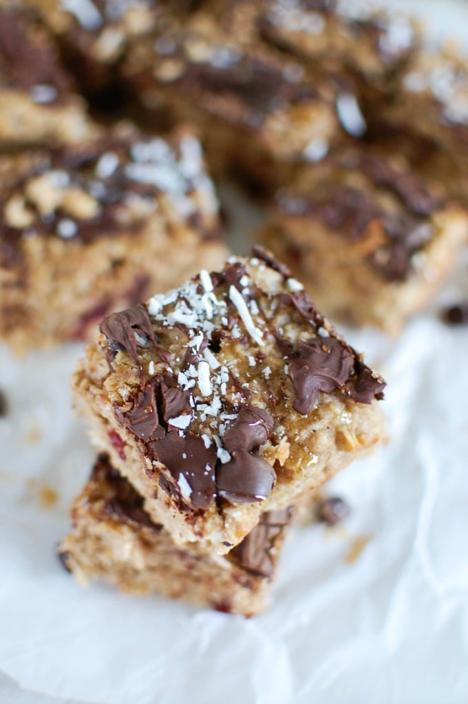 Dark Chocolate Cranberry Coconut Oatmeal Cookie Bars - A Cedar Spoon