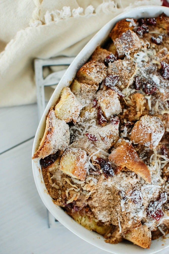 Overnight Cranberry Coconut French Toast Bake