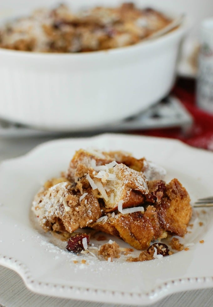 Overnight Cranberry Coconut French Toast Bake - perfect breakfast!