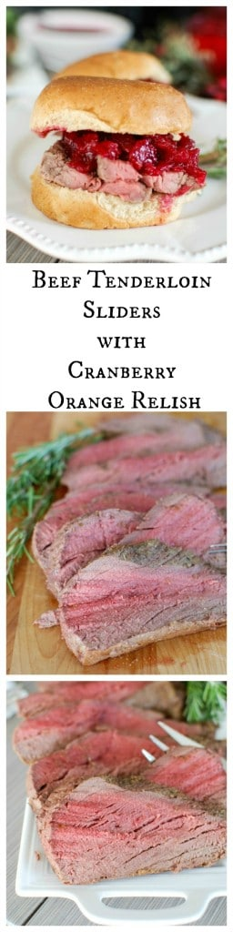 Beef Tenderloin Sliders with Cranberry Orange Relish - holiday dinner!