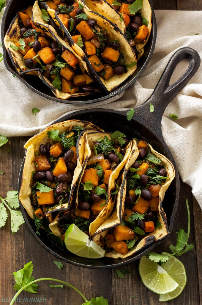 Butternut Squash, Black bean and Kale Tacos // Spoonful of flavor