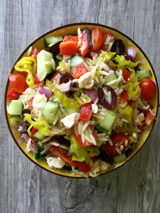 Greek Orzo Pasta Salad - great for picnics!