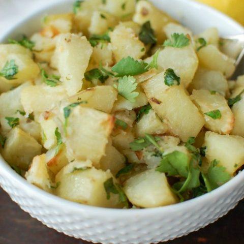 Lemon Cilantro Roasted Potatoes - close up