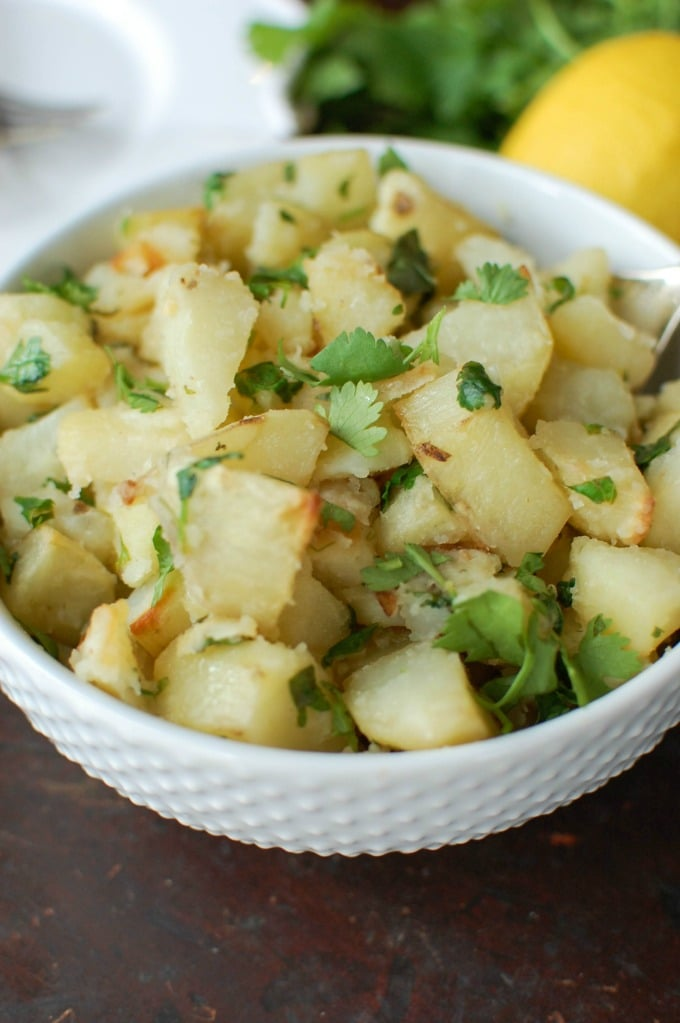 Lemon Cilantro Roasted Potatoes - close up