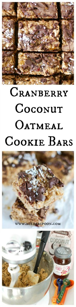 Cranberry Coconut Oatmeal Cookie Bars