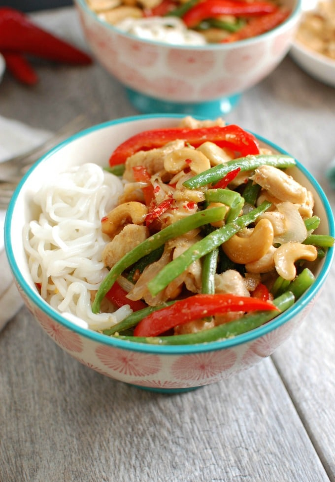 Lemongrass Chicken Noodle Bowls - stir-fry