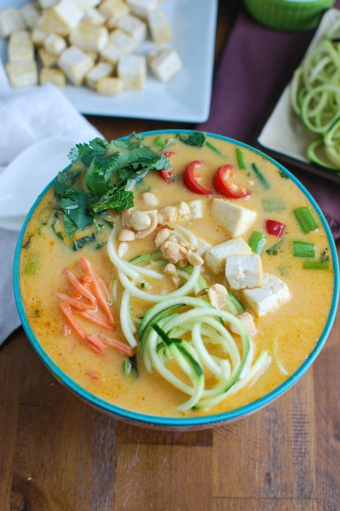 Thai Coconut Zoodle Soup in Teal Bowl