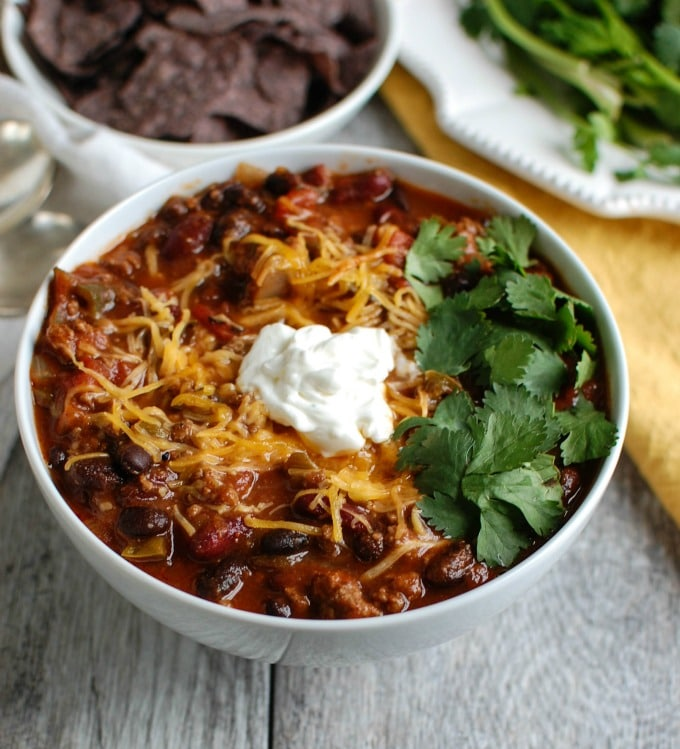 Beef Poblano Black Bean Chili - game day