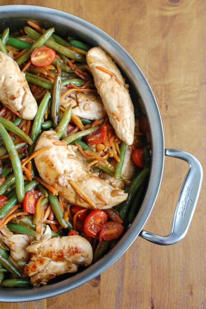 One Pot Honey Balsamic Chicken and Vegetables Pan