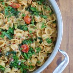 One Pot Kale Broccoli Chickpea Orecchiette Pasta - dinner