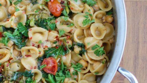 One Pot Kale Broccoli Chickpea Orecchiette Pasta