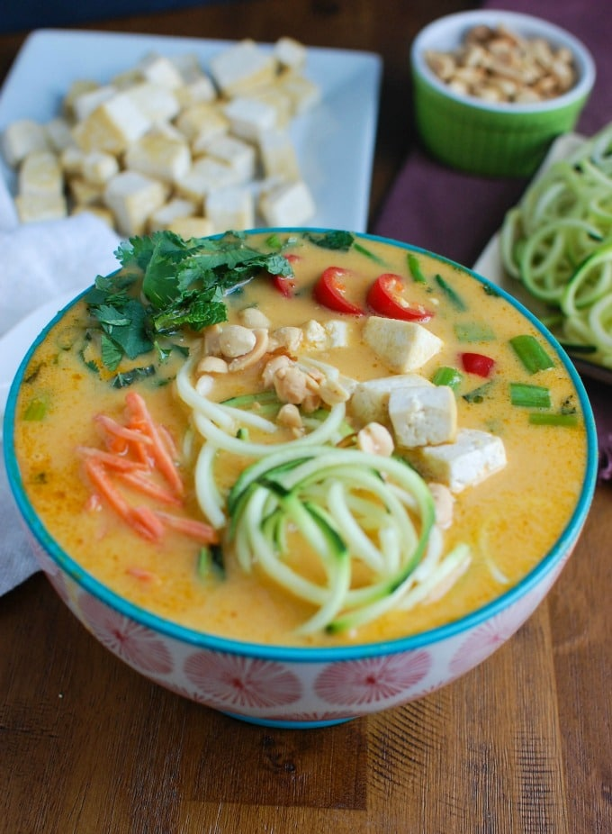 Thai Coconut Zoodle Soup with zoodles