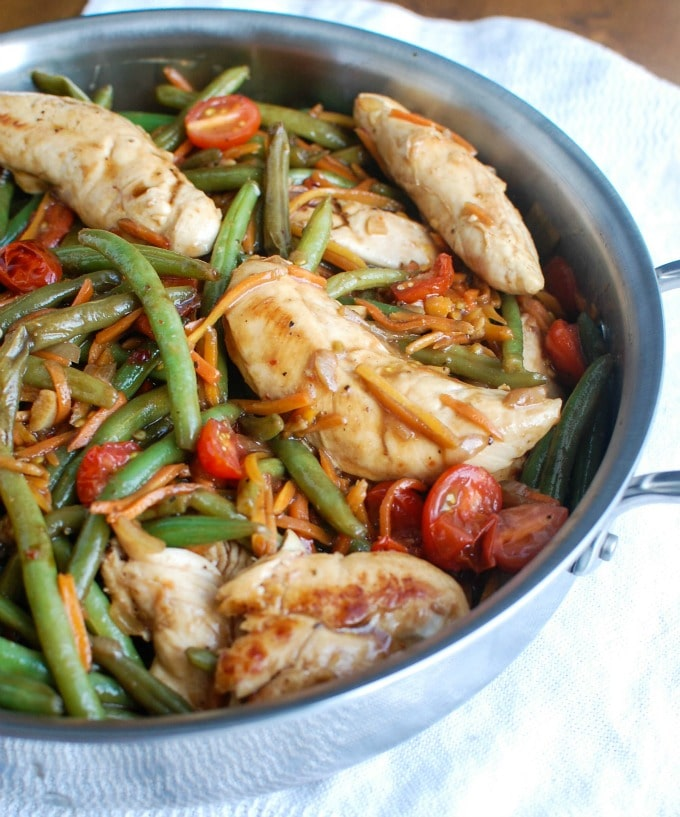 One Pot Honey Balsamic Chicken and Vegetables Side Pot