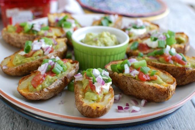 Guacamole Stuffed Potato Skins - football food