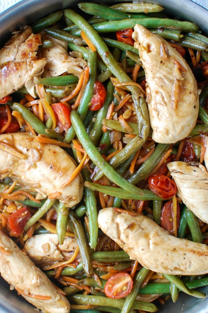 One Pot Honey Balsamic Chicken and Vegetables - healthy dinner