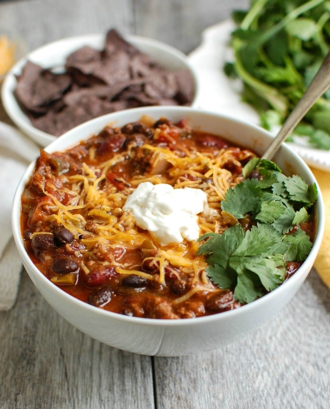 Beef Poblano Black Bean Chili - super bowl food