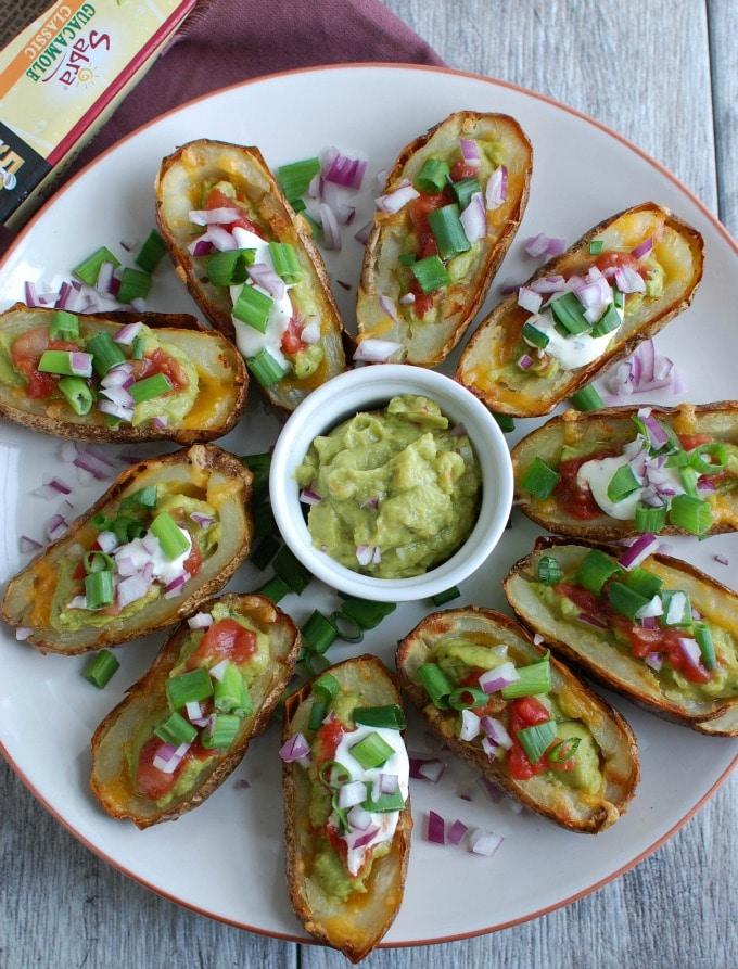 Guacamole Stuffed Potato Skins - so good