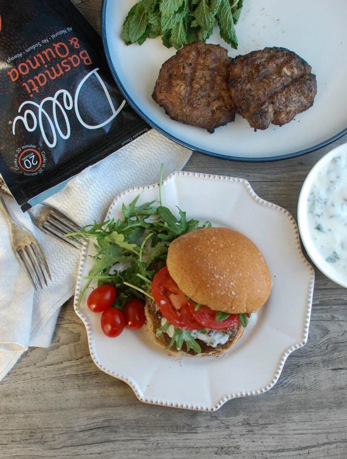 Mediterranean Lamb Quinoa Burgers - super bowl food