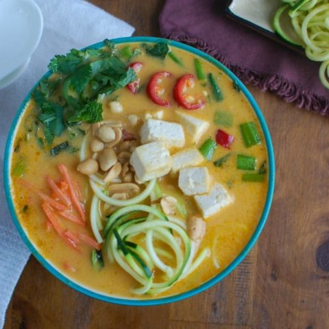 Thai Coconut Zoodle Soup above view