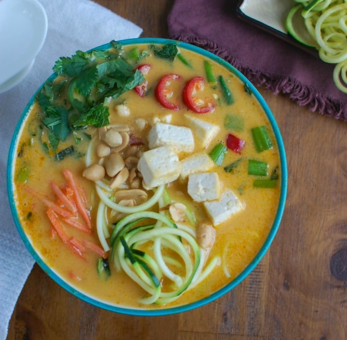 Thai Coconut Zoodle Soup above view
