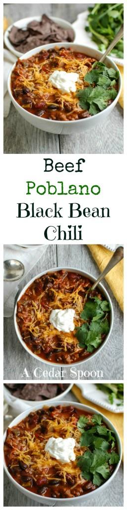 Beef Poblano Black Bean Chili - A Cedar Spoon