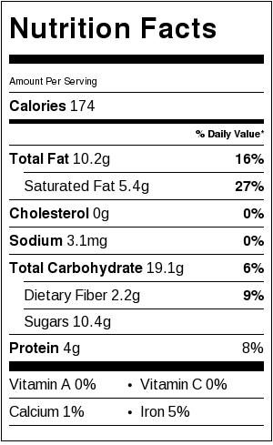 Chocolate Peanut Butter Coconut No Bake Cookies - nutrition label
