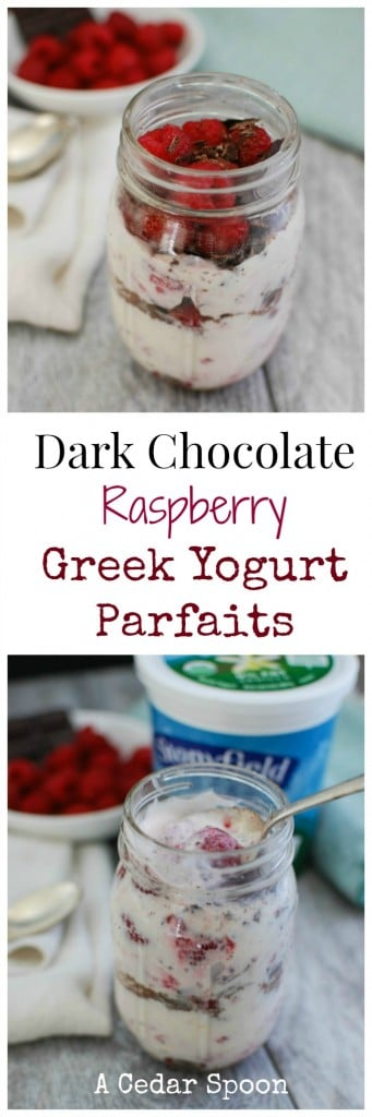 Dark Chocolate Raspberry Greek Yogurt Parfait- snack