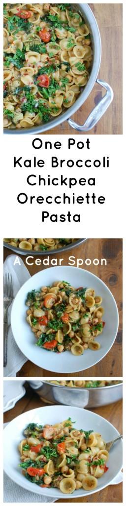 One Pot Kale Broccoli Chickpea Orecchiette Pasta - my favorite