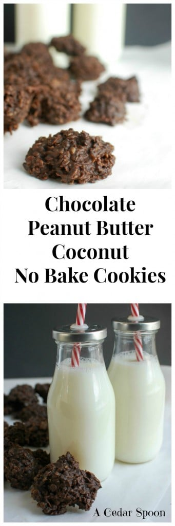 Chocolate Peanut Butter Coconut No Bake Cookies - the best cookie