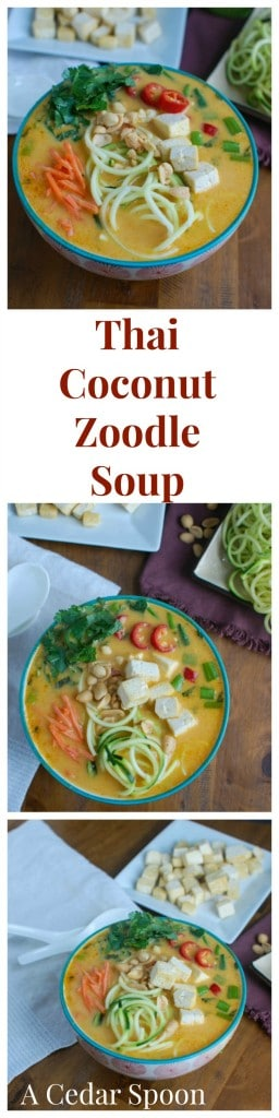 Thai Coconut Zoodle Soup is a healthier version of your favorite Thai noodle soup recipe. The zucchini noodles lighten up this easy vegetarian soup recipe