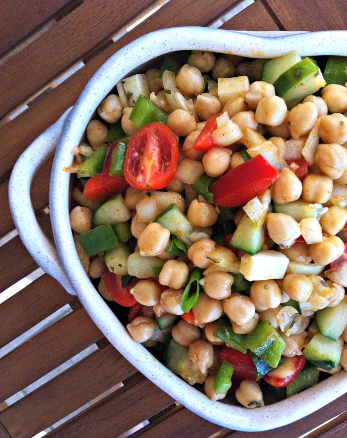 Mediterranean Chickpea Salad with Lemon Vinaigrette // A Cedar Spoon