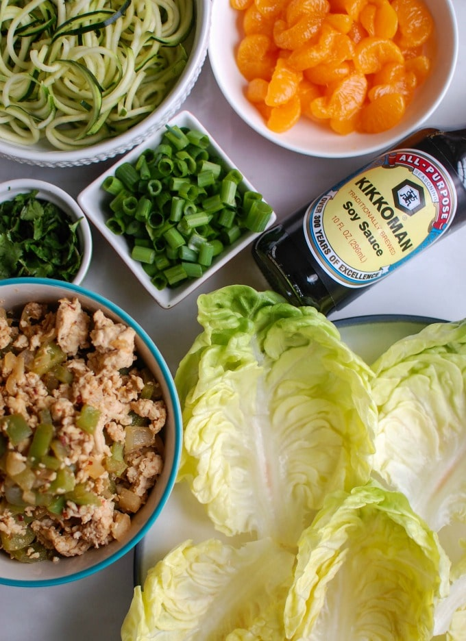 Asian Chicken Zoodle Lettuce Wraps - healthy and light