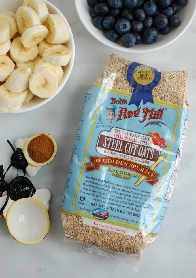 Baked Blueberry Banana Steel Cut Oatmeal - ingredients